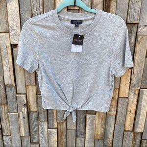 Topshop crop top shirt gray tie waist size 4
